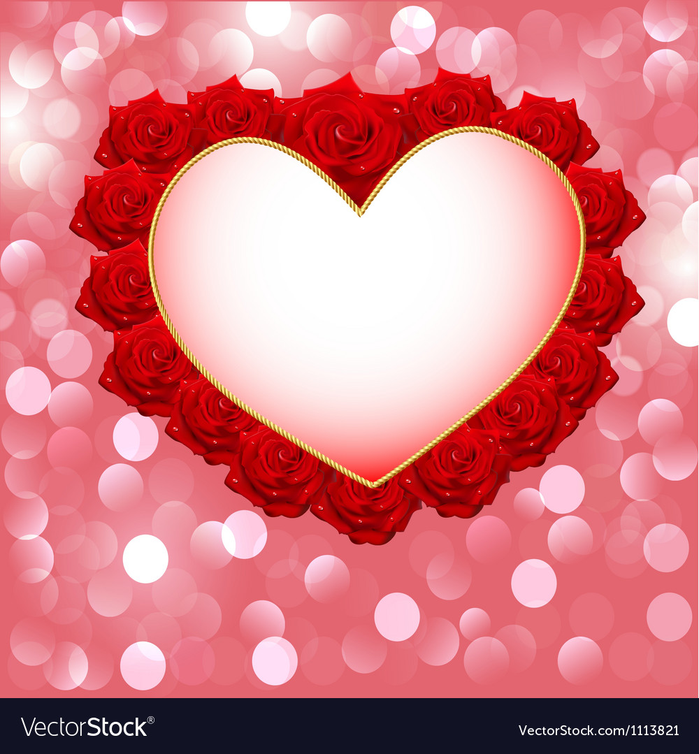 Valentines Red Roses Card vector image