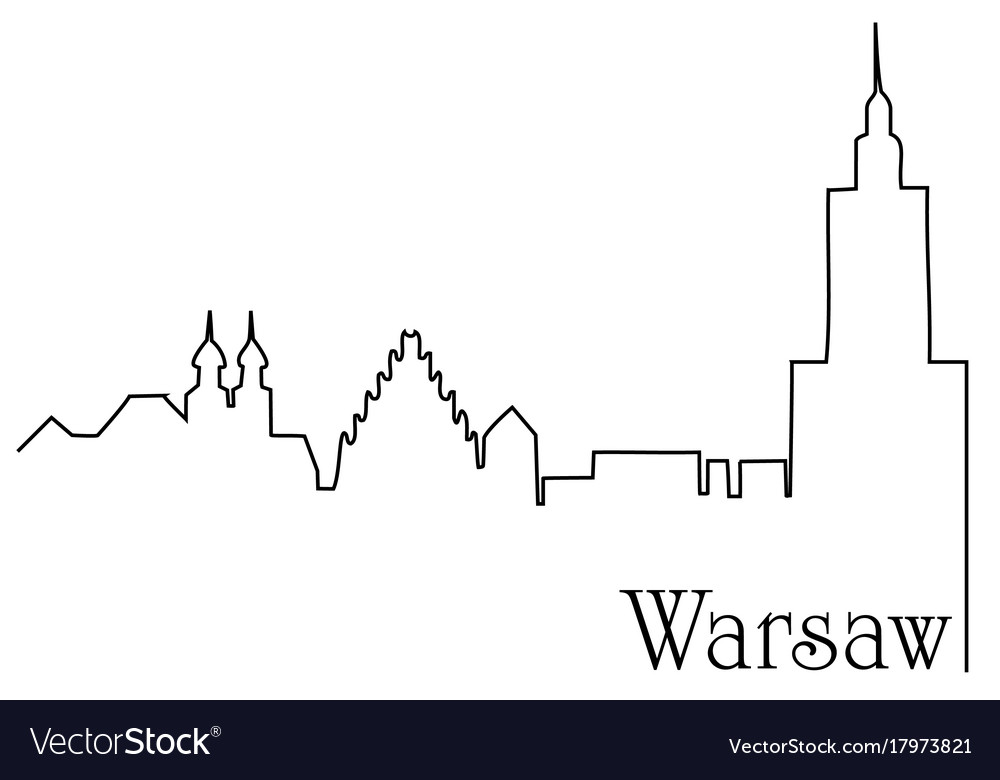 Warsaw city one line drawing background