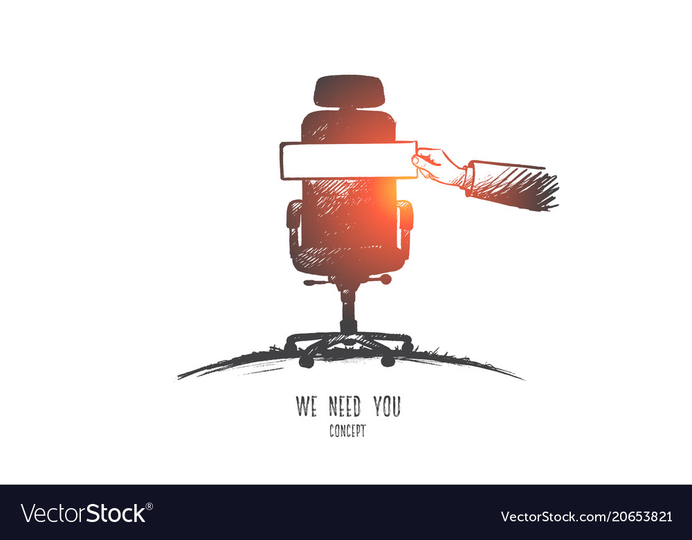 We need you concept hand drawn isolated