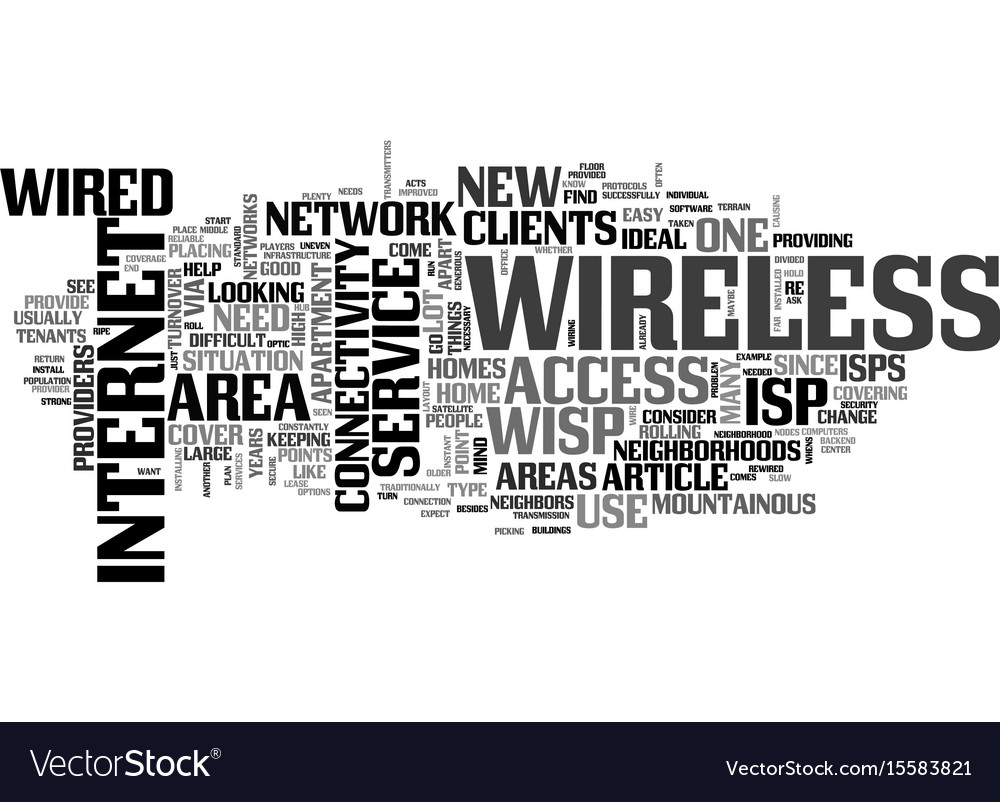 Why go wireless with your isp text word cloud vector image