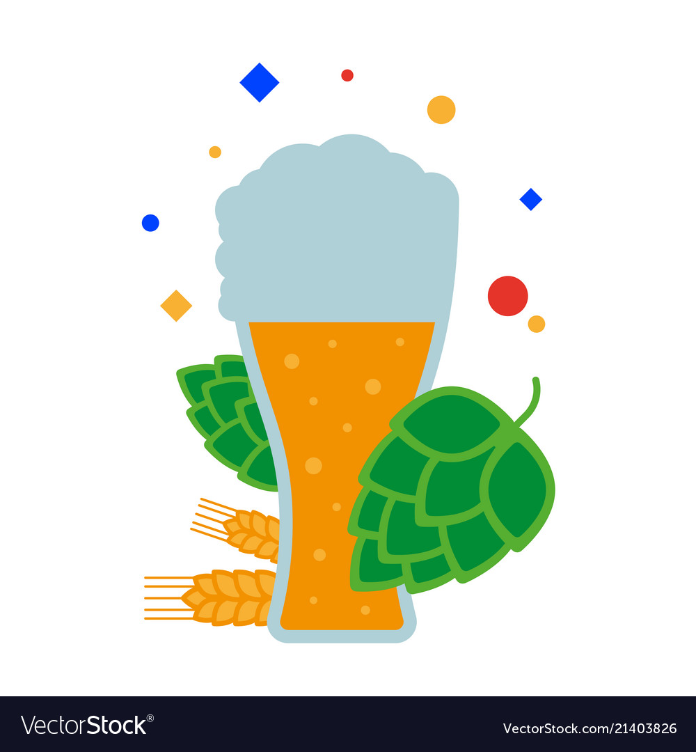 A tall glass of beer with foam malt and hops