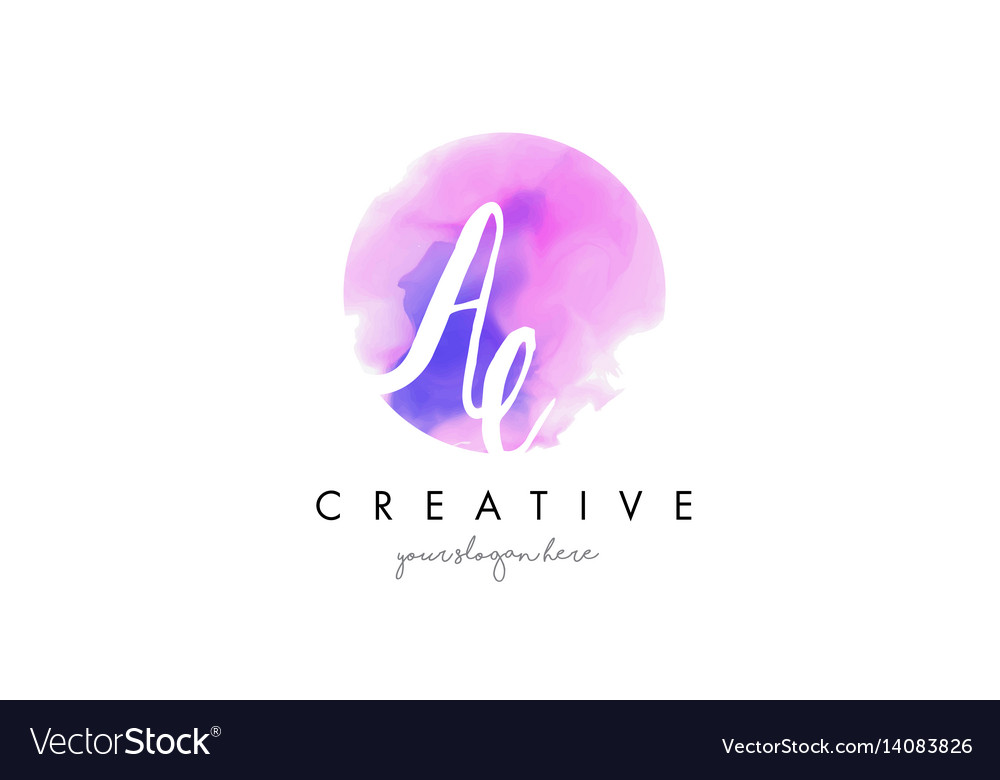 Ae watercolor letter logo design with purple