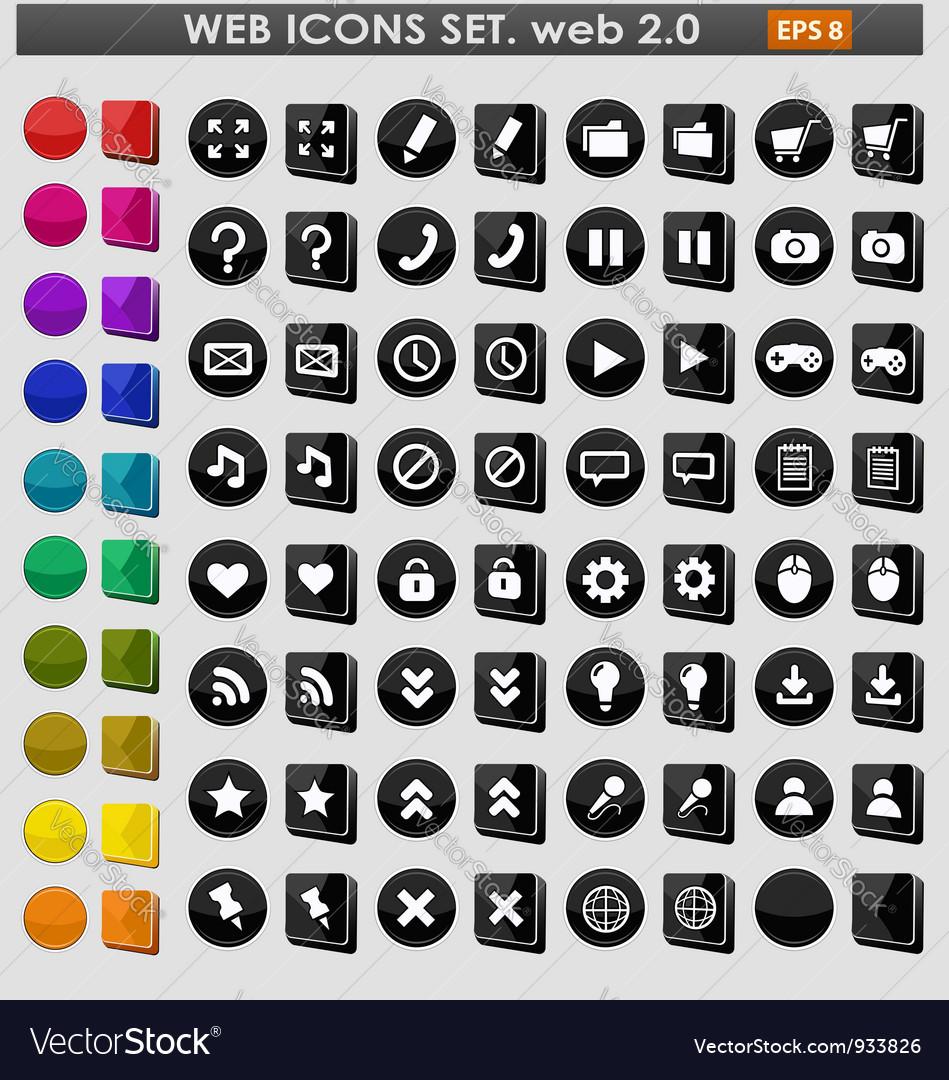 Black web icons set vector image
