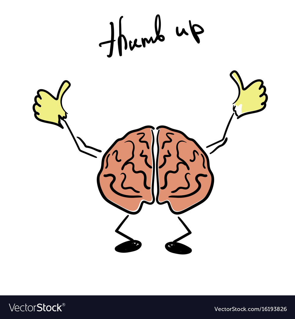 Brain character giving a thumb up