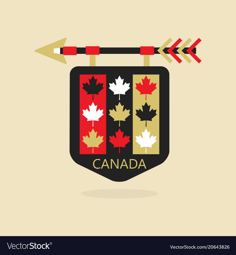 Canada medieval emblem icon with maple leaf flag