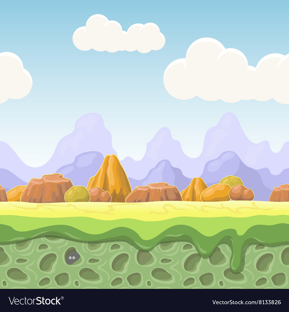 Cartoon fairy tale landscape Stones seamless