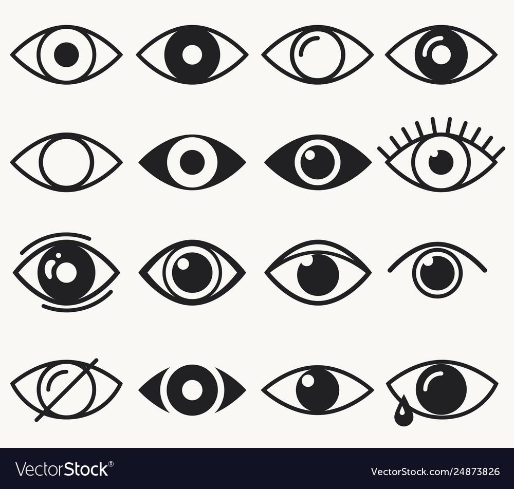 Eyes icon set on white background