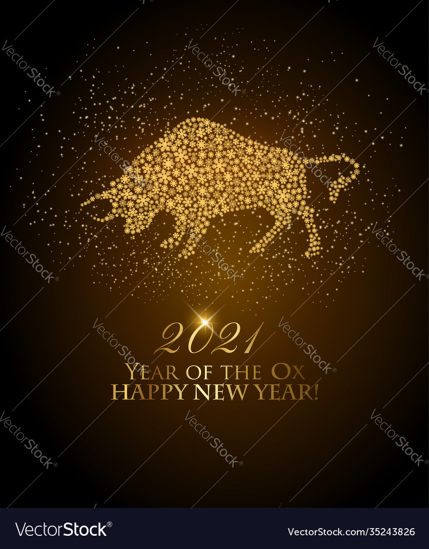 Happy new year 2021 background year ox