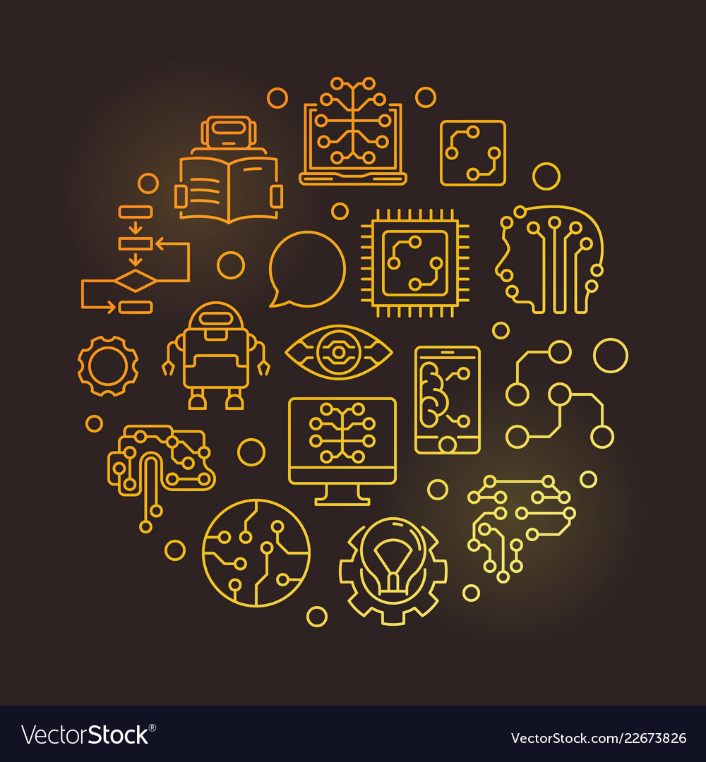Machine Learning Circular Golden Line Royalty Free Vector
