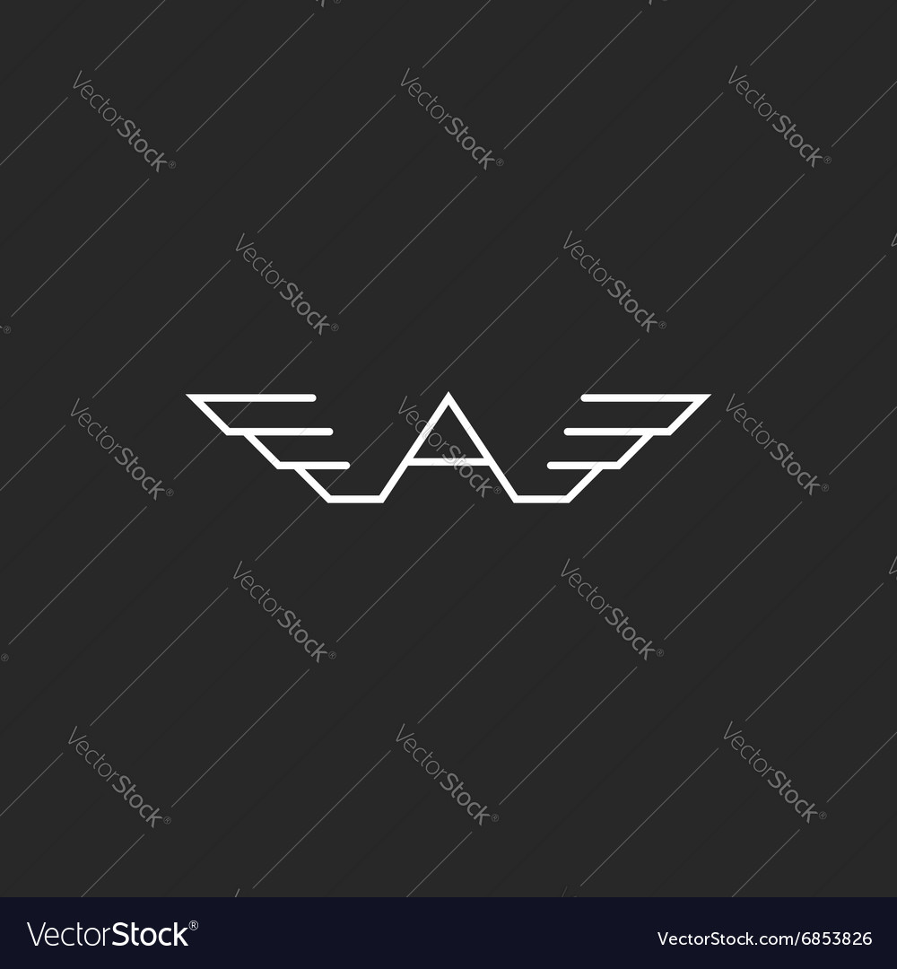Monogram logo A letter wings black and white