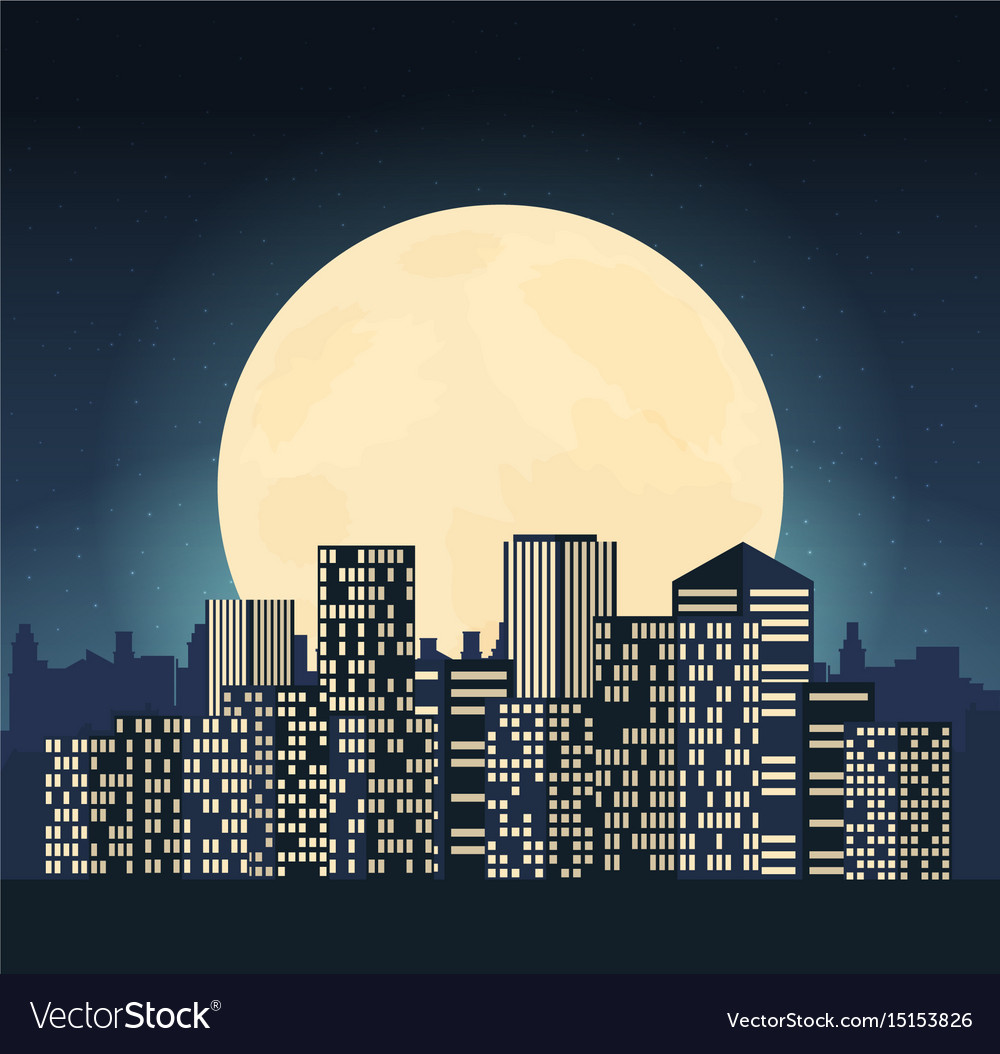 Night cityscape in flat style vector image