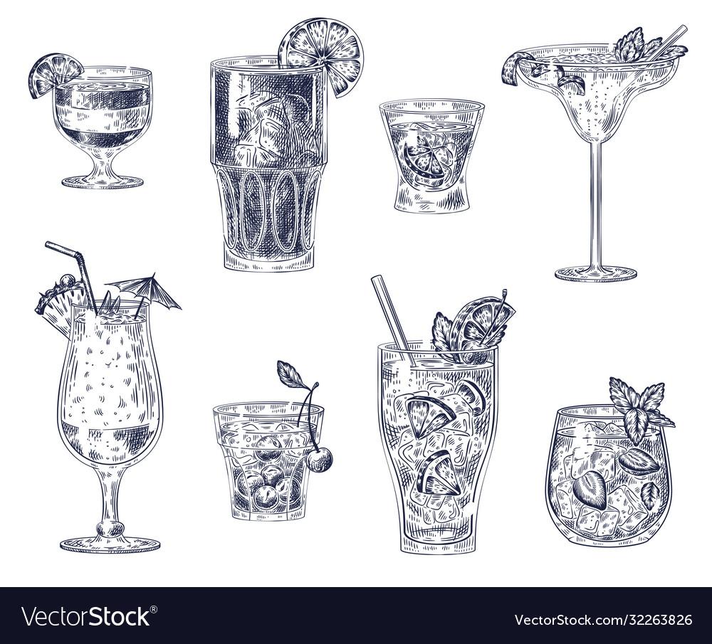 Sketch cocktails alcoholic drinks cocktails