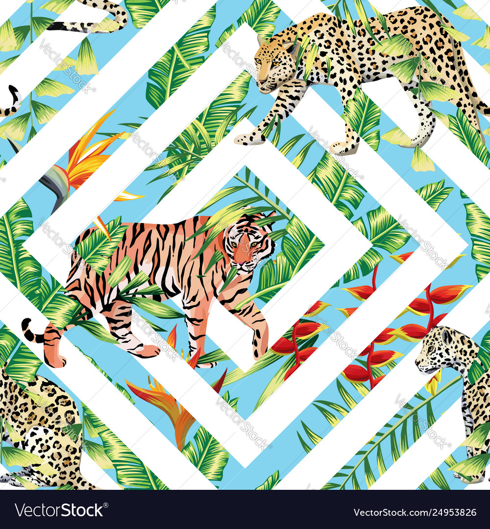 Tiger leopard seamless tropical leaves