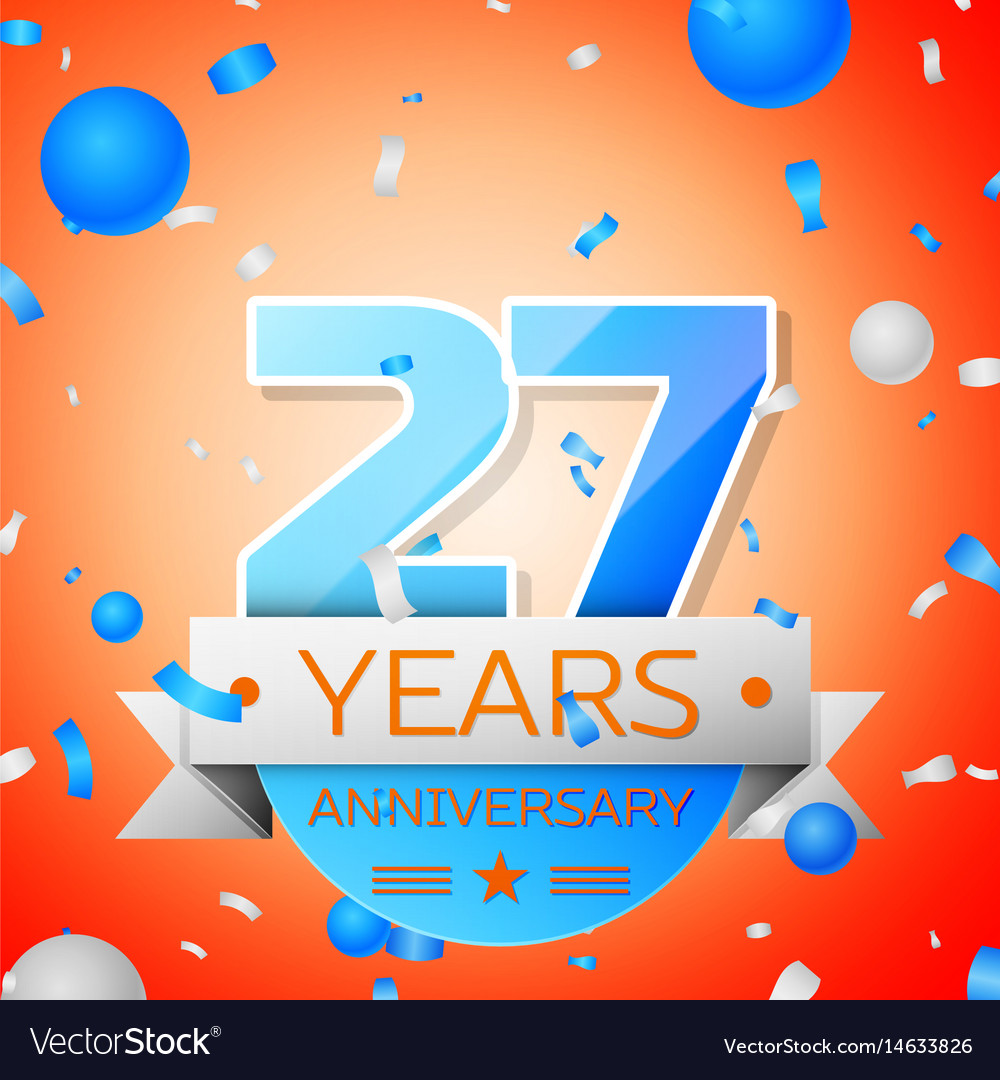 Twenty seven years anniversary celebration Vector Image