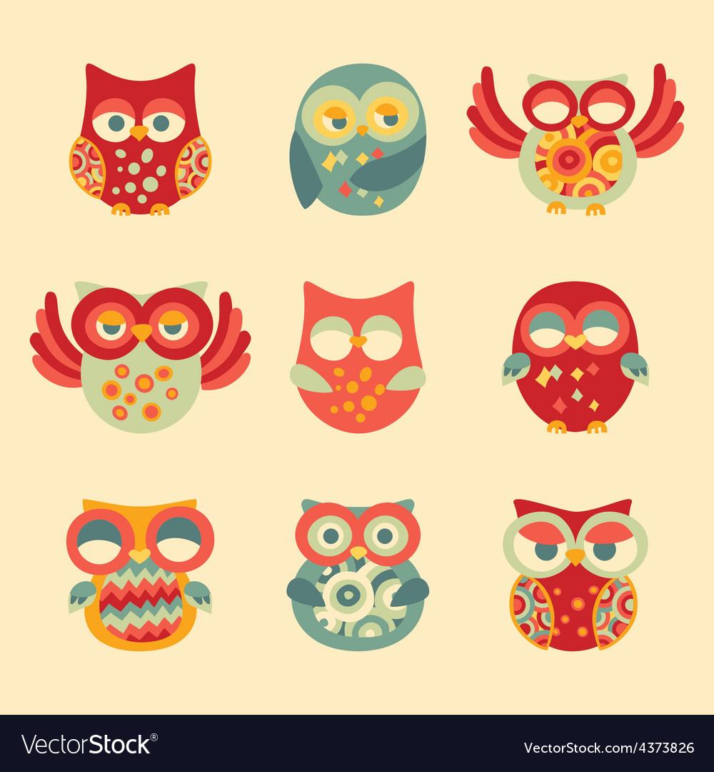 Vintage Decor Owl Set