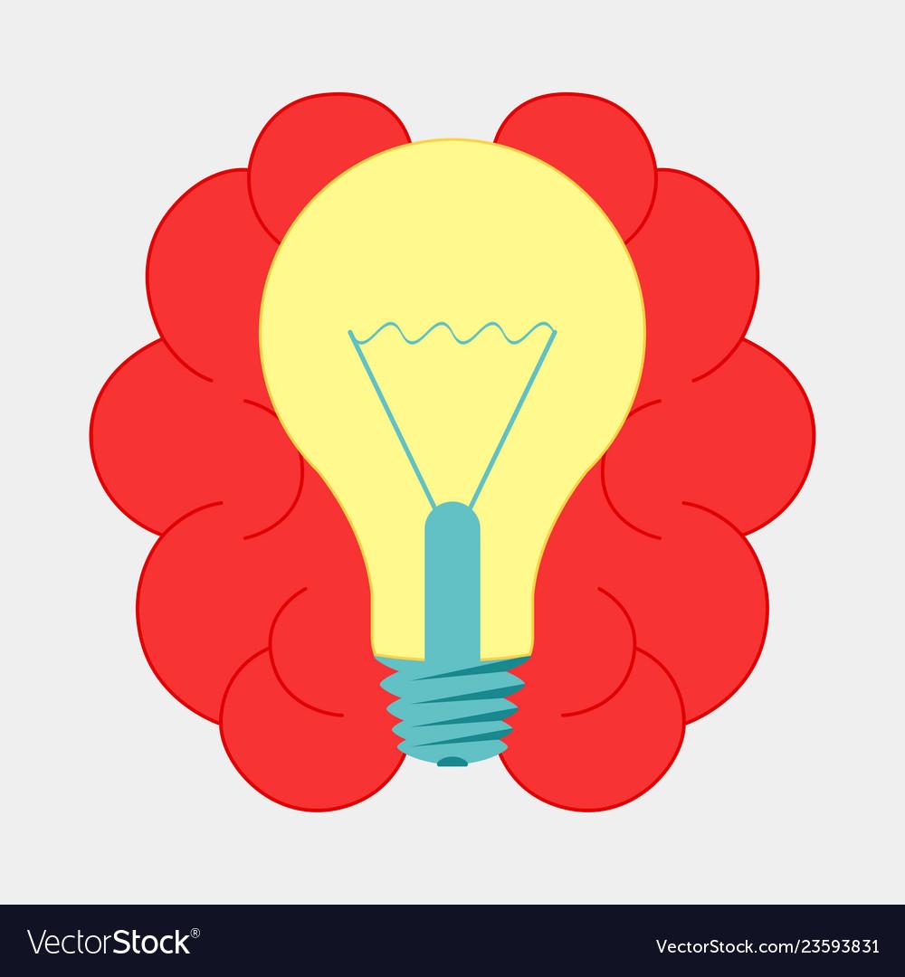 Brain with lightbulb idea brainstorm icon design