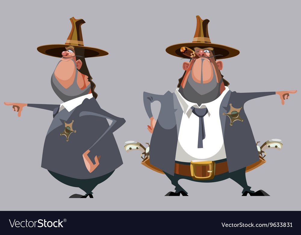 Cartoon man sheriff in a hat stands in front vector image