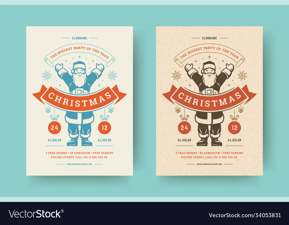 Christmas party flyer invitation modern typography vector