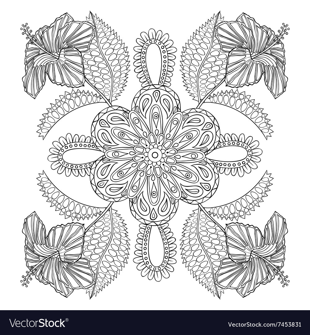 Coloring Page With Exotic Flowers Brunch Vector Image