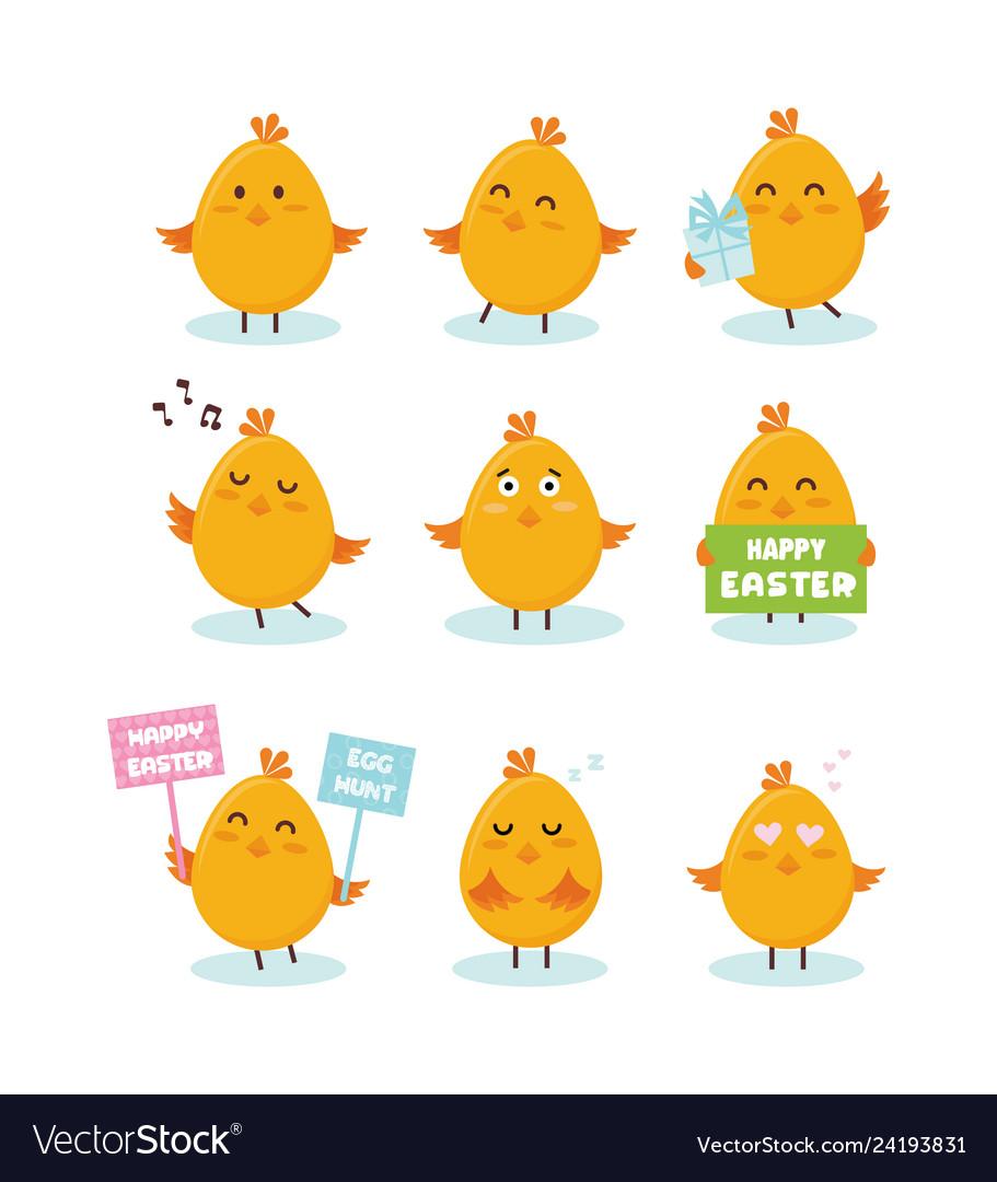 Cute little chicks bunner with greeting speech