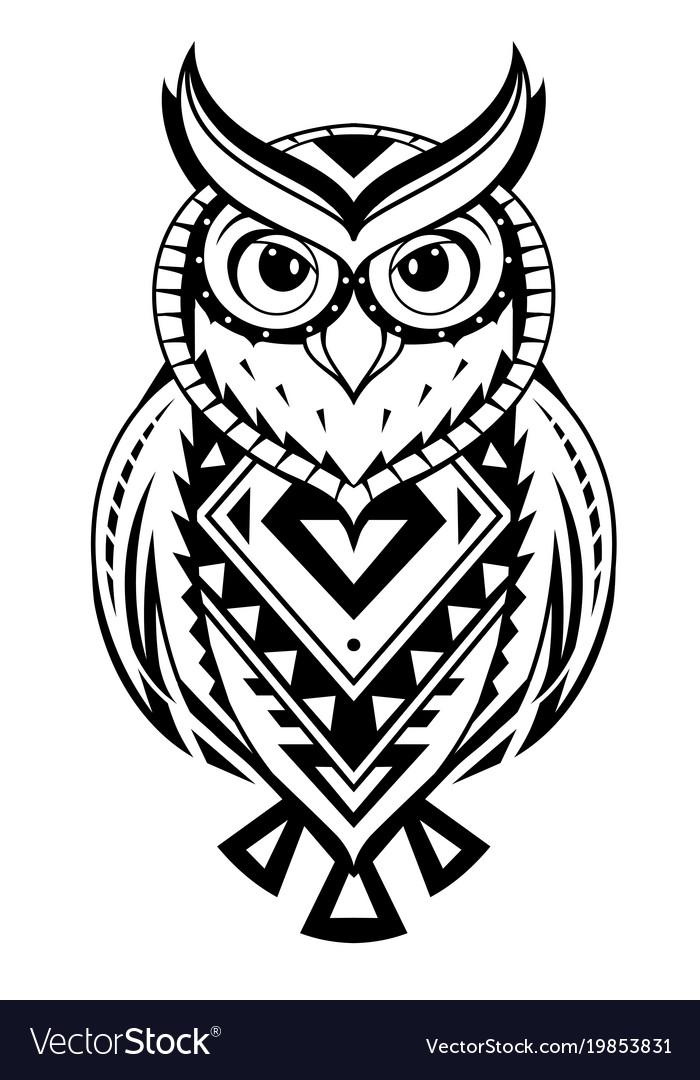 Ethnic Style Owl Tattoo Vector Image