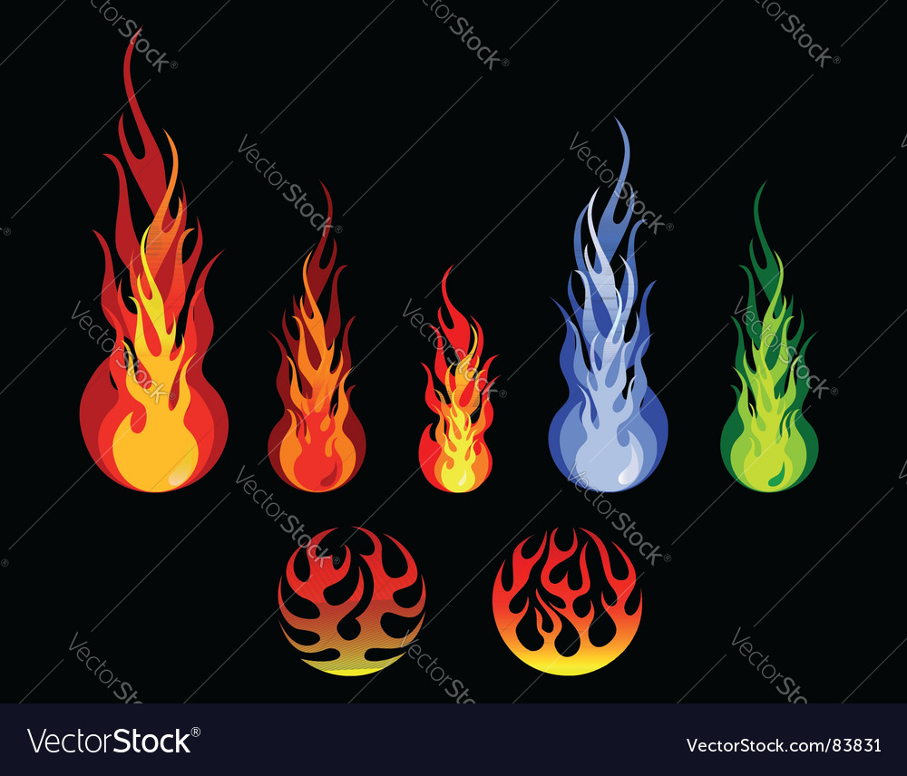 Fire and flame silhouettes vector image