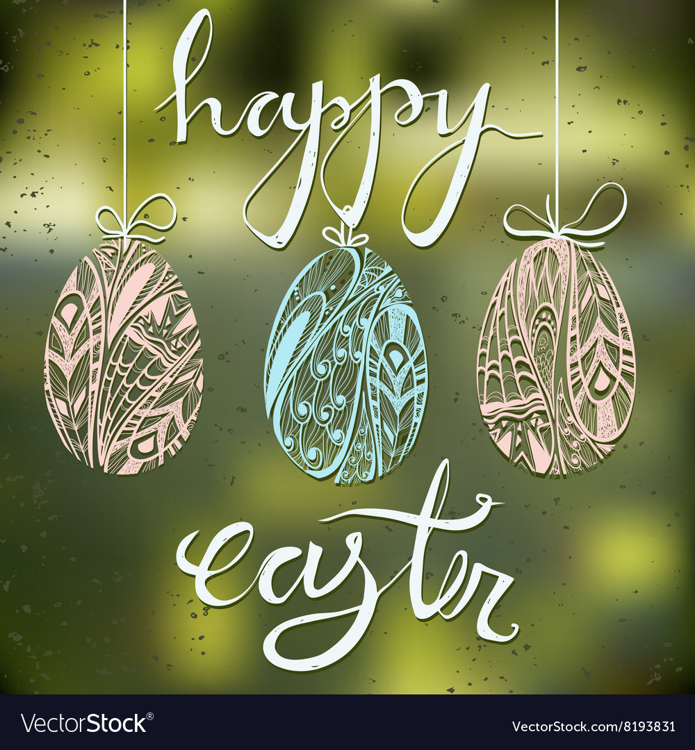 Happy easter card with blurred background and