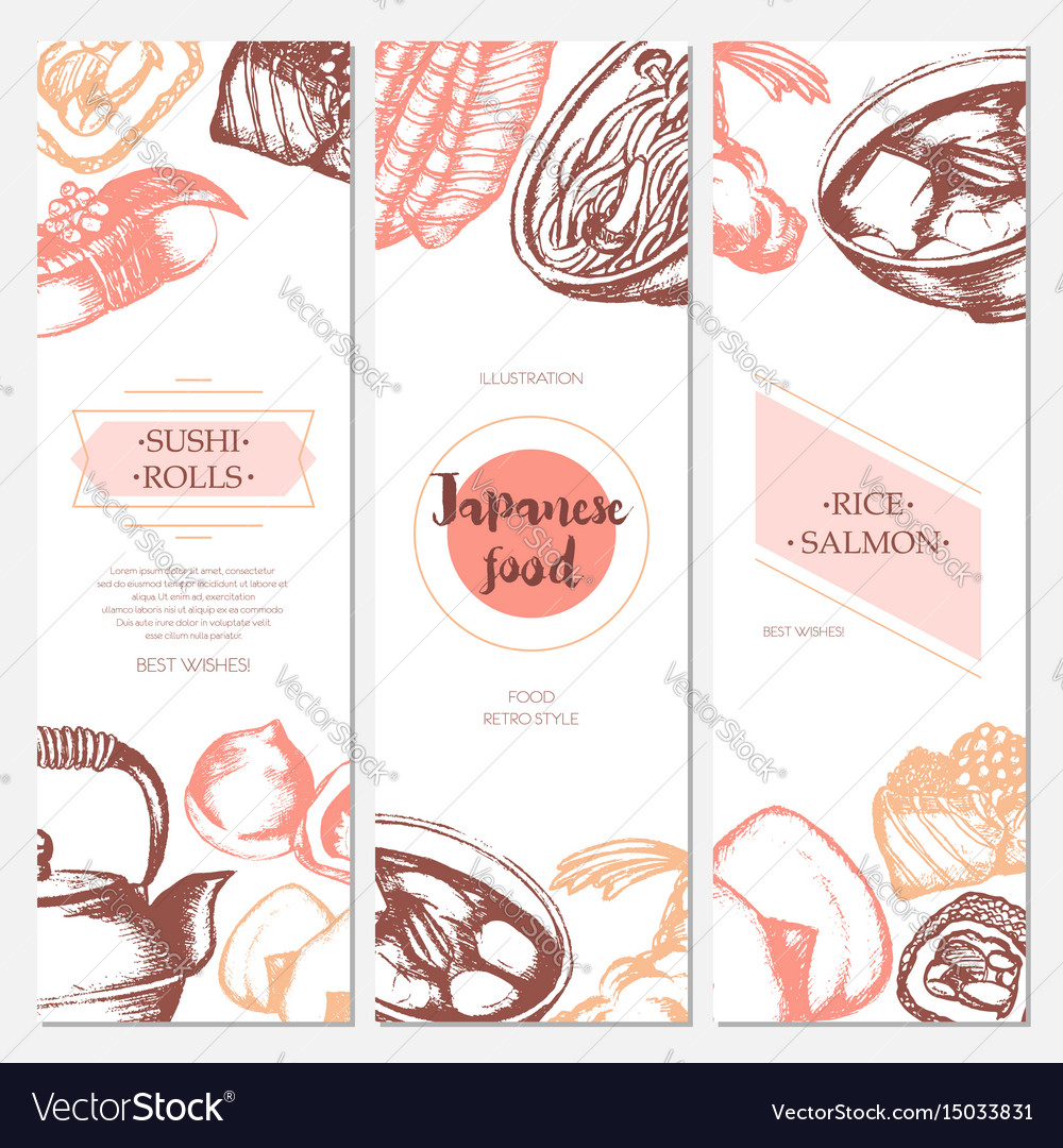 Japanese food - color hand drawn square template
