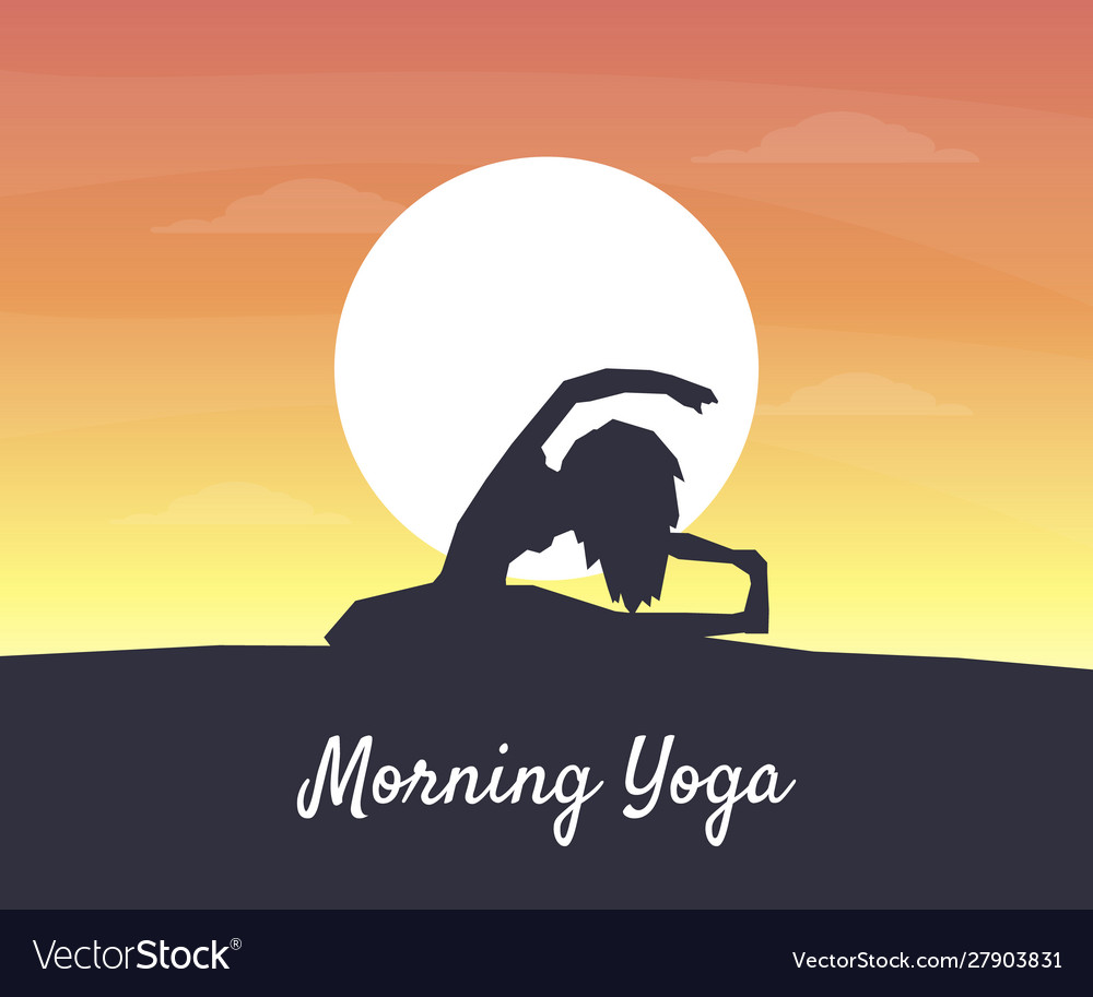 Morning Yoga Banner Silhouette A Girl On The Vector Image