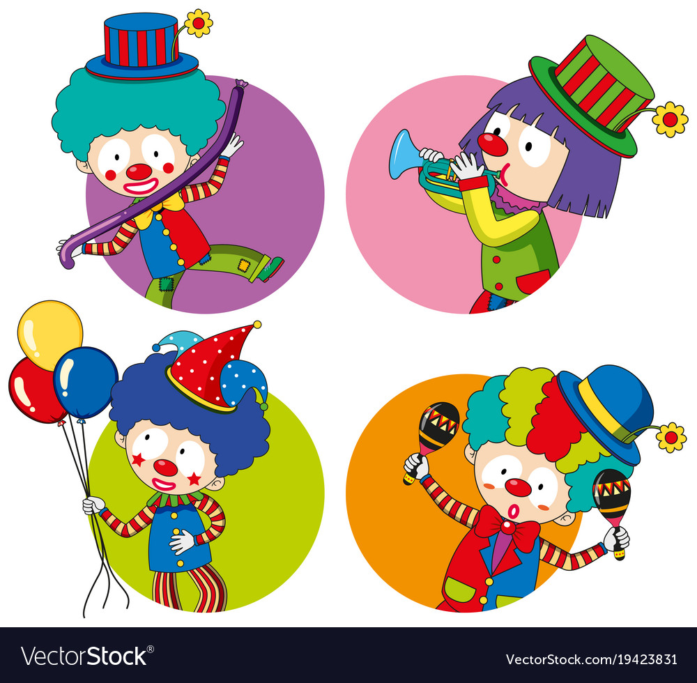 sticker templates with happy clowns royalty free vector