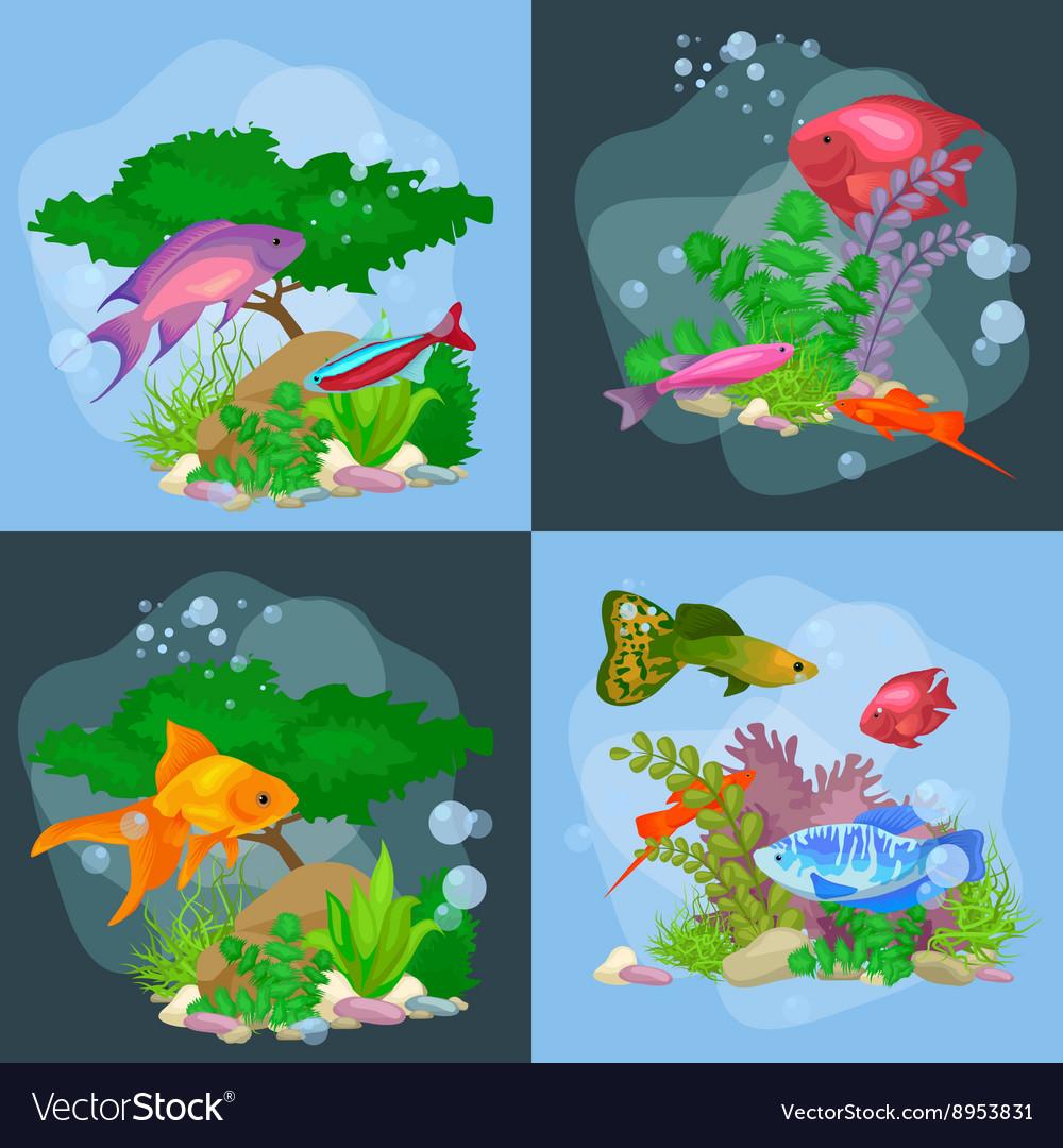 Underwater world background with fish