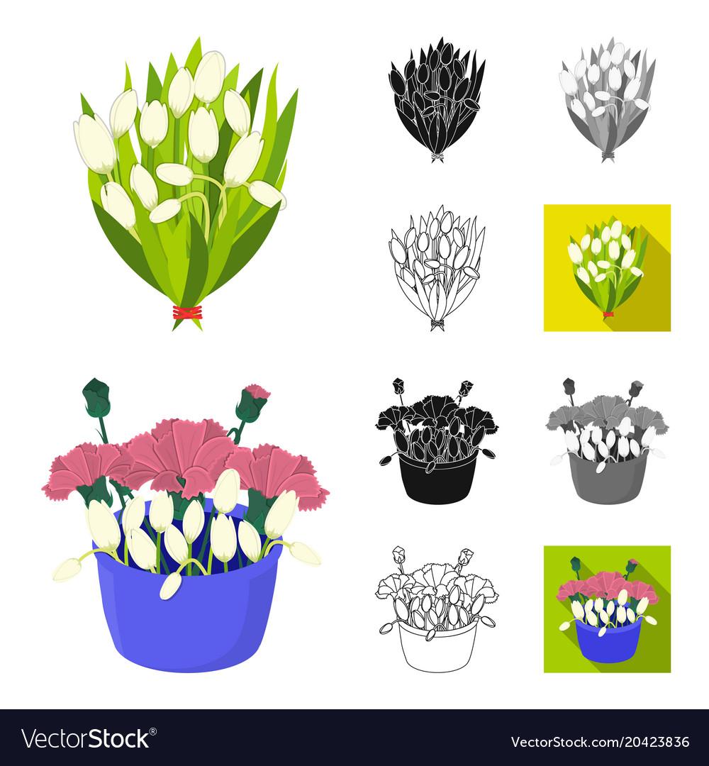 A Bouquet Of Fresh Flowers Cartoonblackflat Vector Image