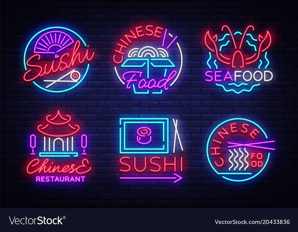 Collection neon signs food set logos in neon