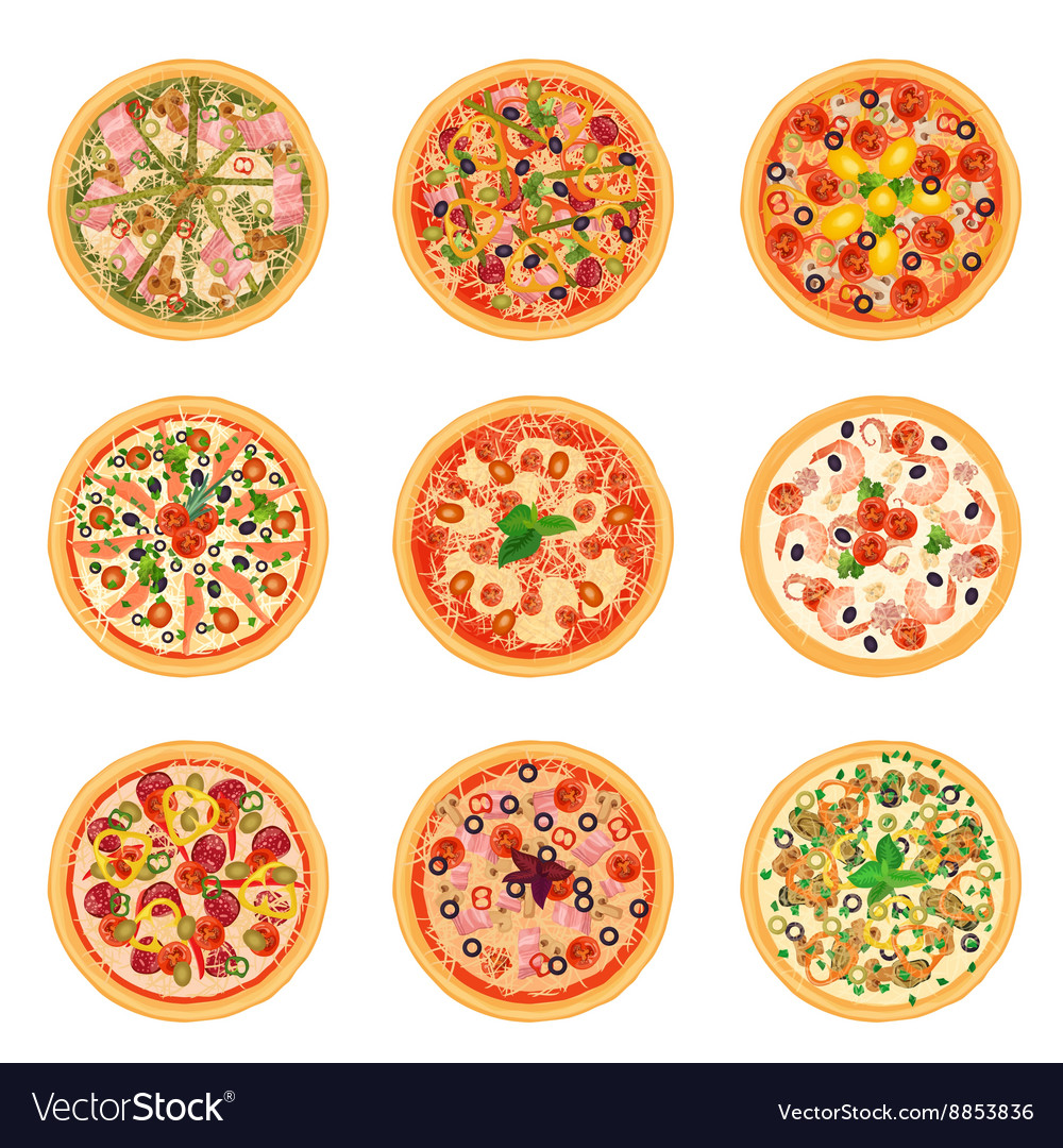 Different pizza food icons set collection isolated