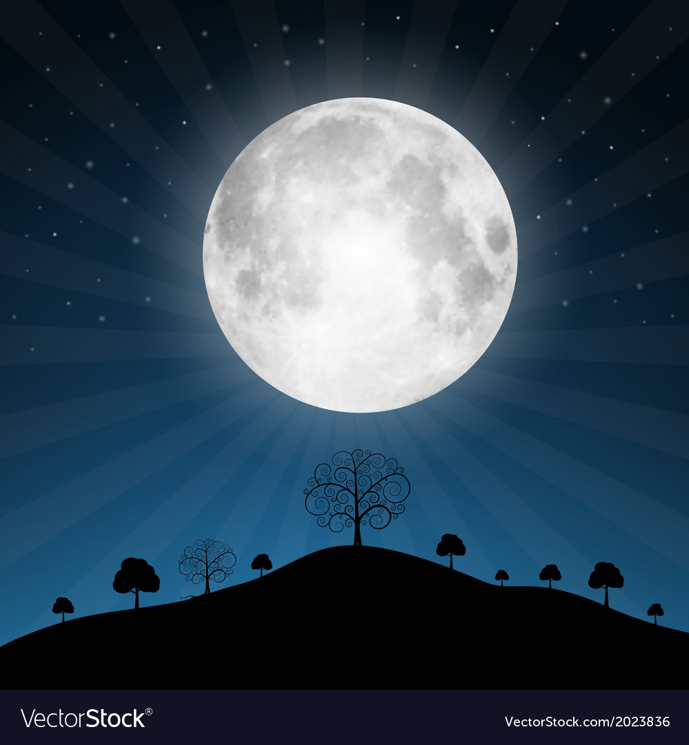Full Moon with Stars and Trees