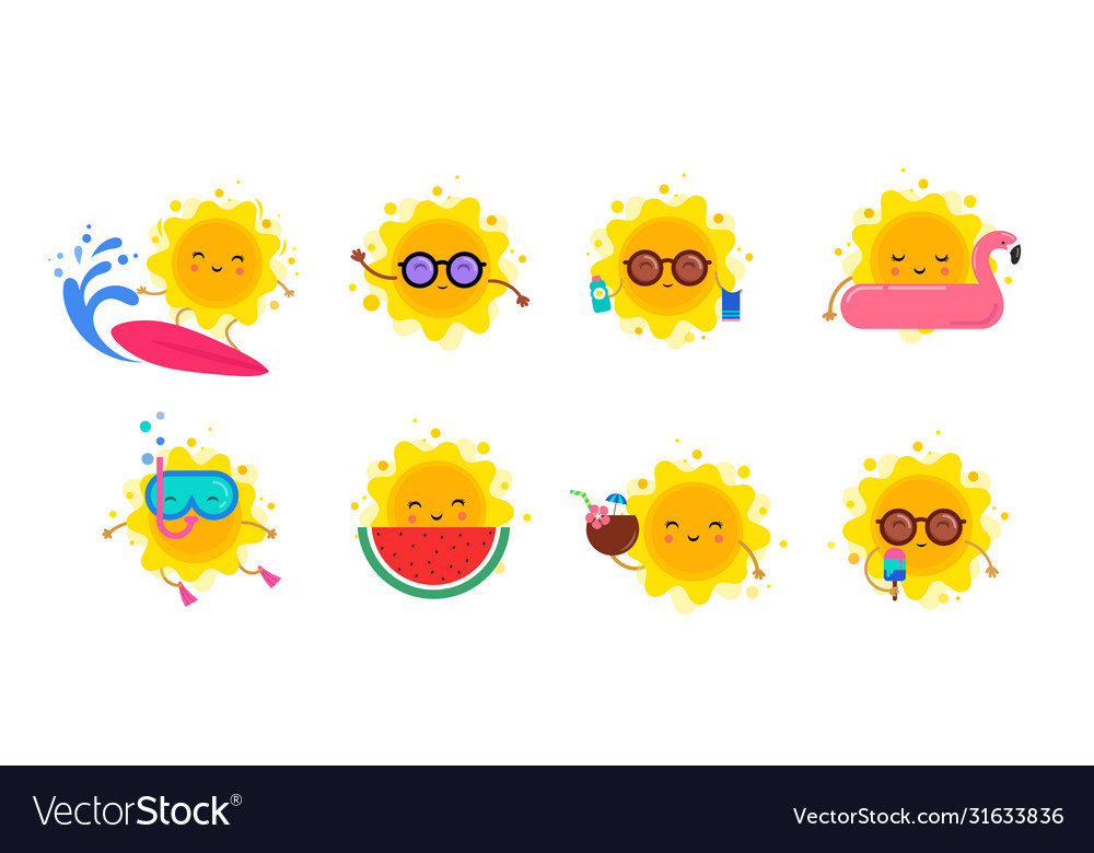 Fun summer elements sun characters icons