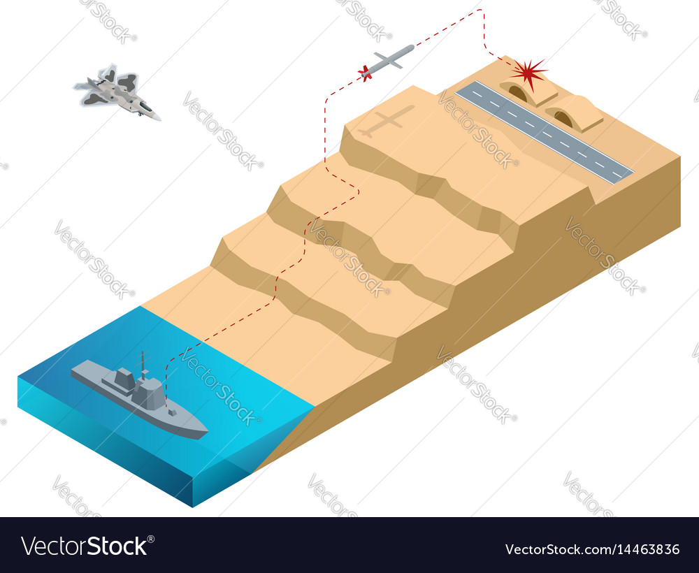 Isometric land attack missile long-range all vector image