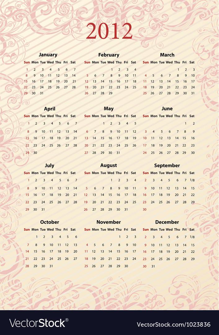 Kalendar light 12 vector image