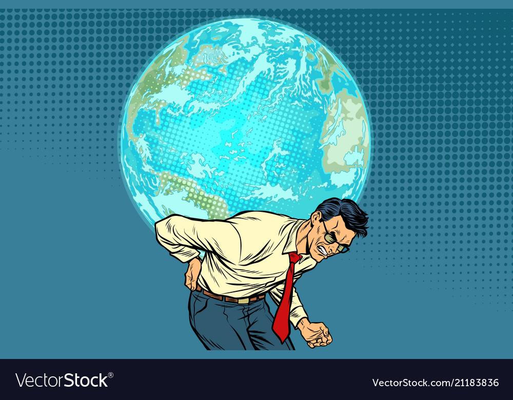 man carrying planet earth royalty free vector image