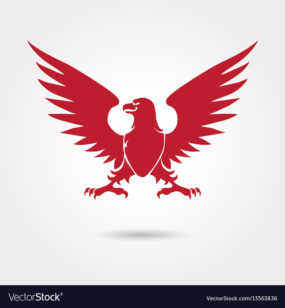 Red eagle heraldic style silhouette vector image