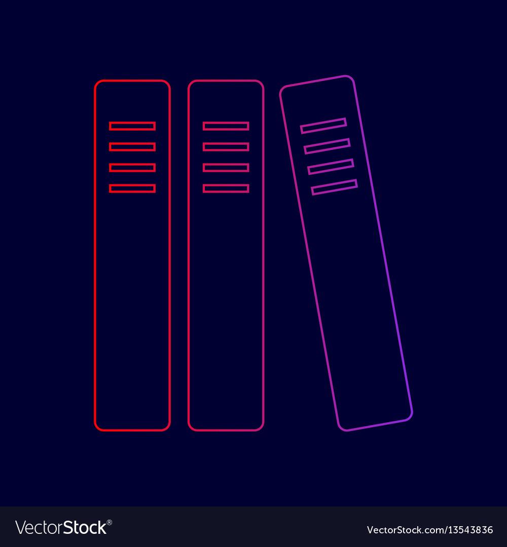 Row of binders office folders icon line vector image