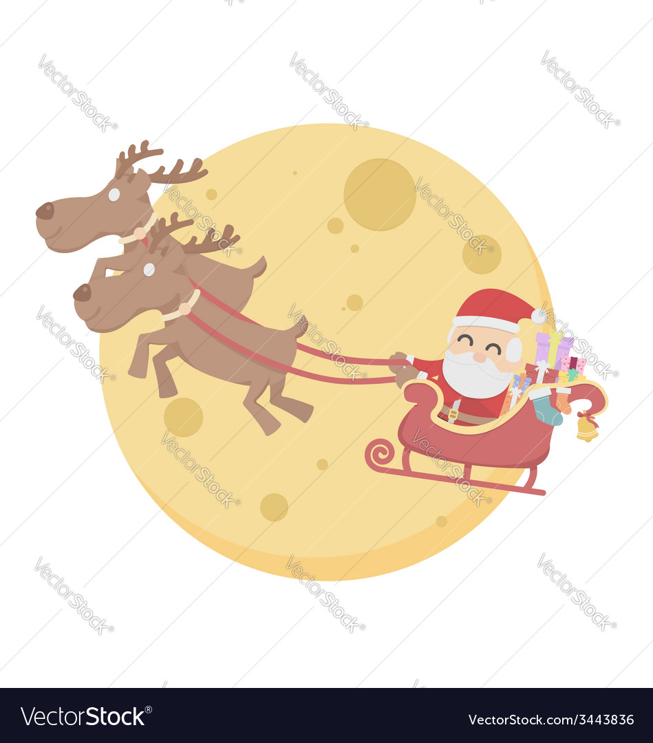 Santa Claus over moon sky white background vector image
