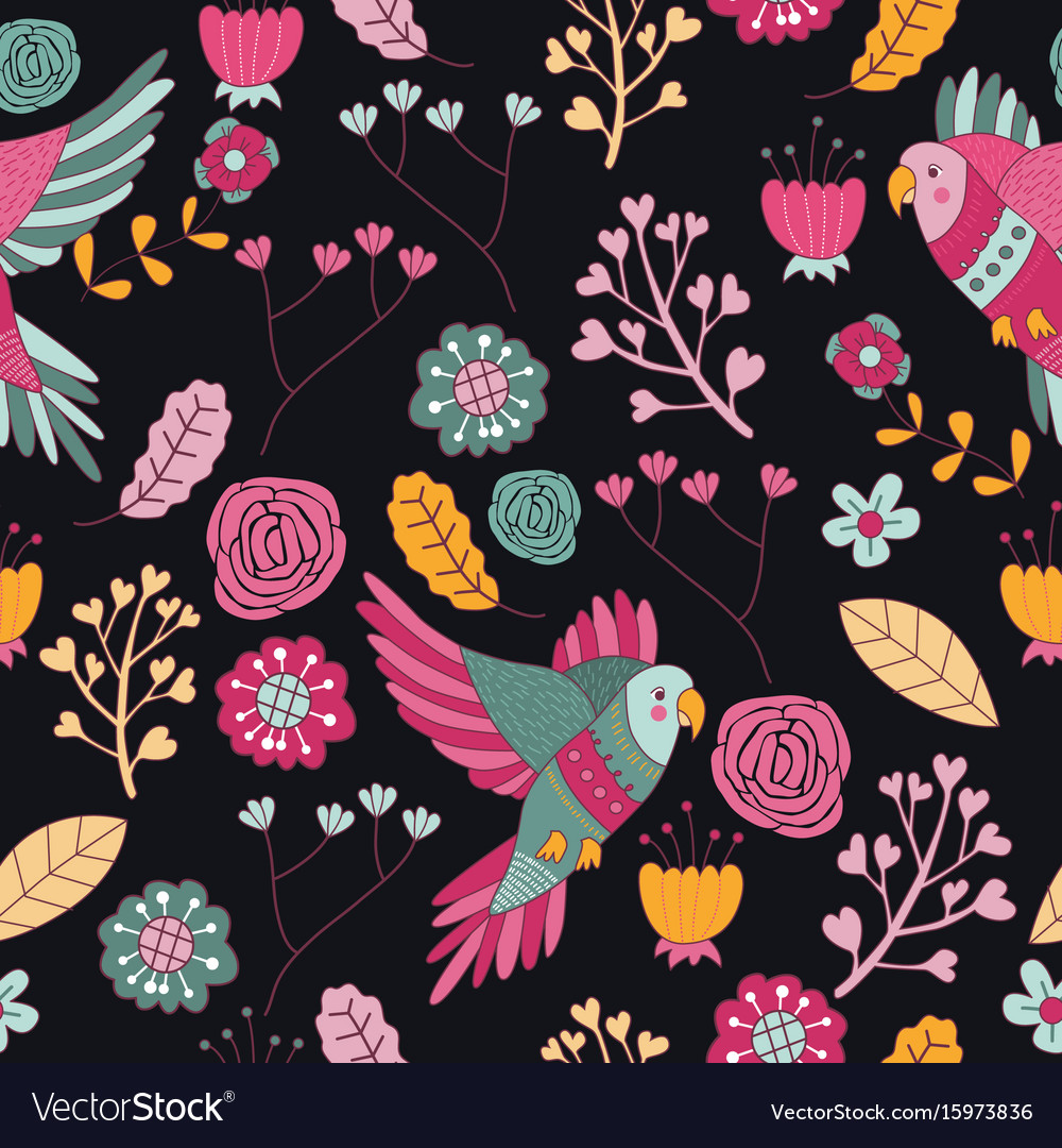 Seamless Pattern Bird Pink Floral Wallpaper Decora