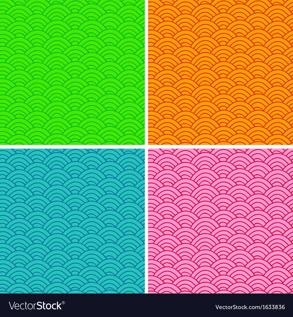 Set of colorful abstract seamless patterns vector image