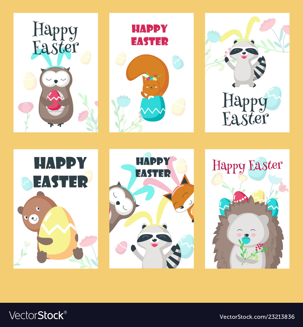 Set of greeting cards with easter animals