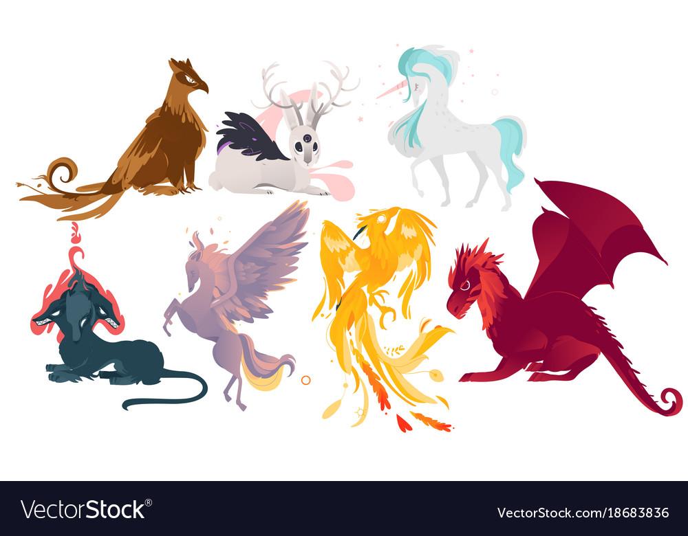 Set of mythical mythological creates and animals