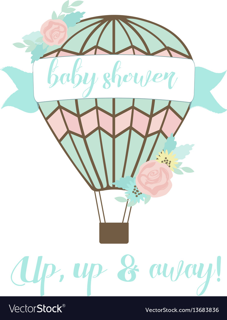 Welcoming baby card with air balloon and flowers