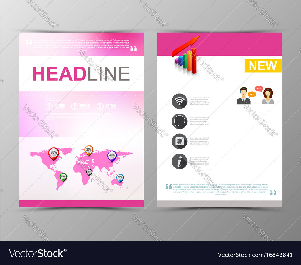 Abstract blurred geometric brochure template map vector image
