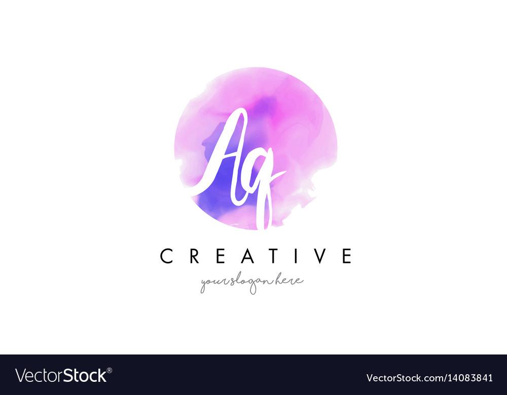 Aq watercolor letter logo design with purple