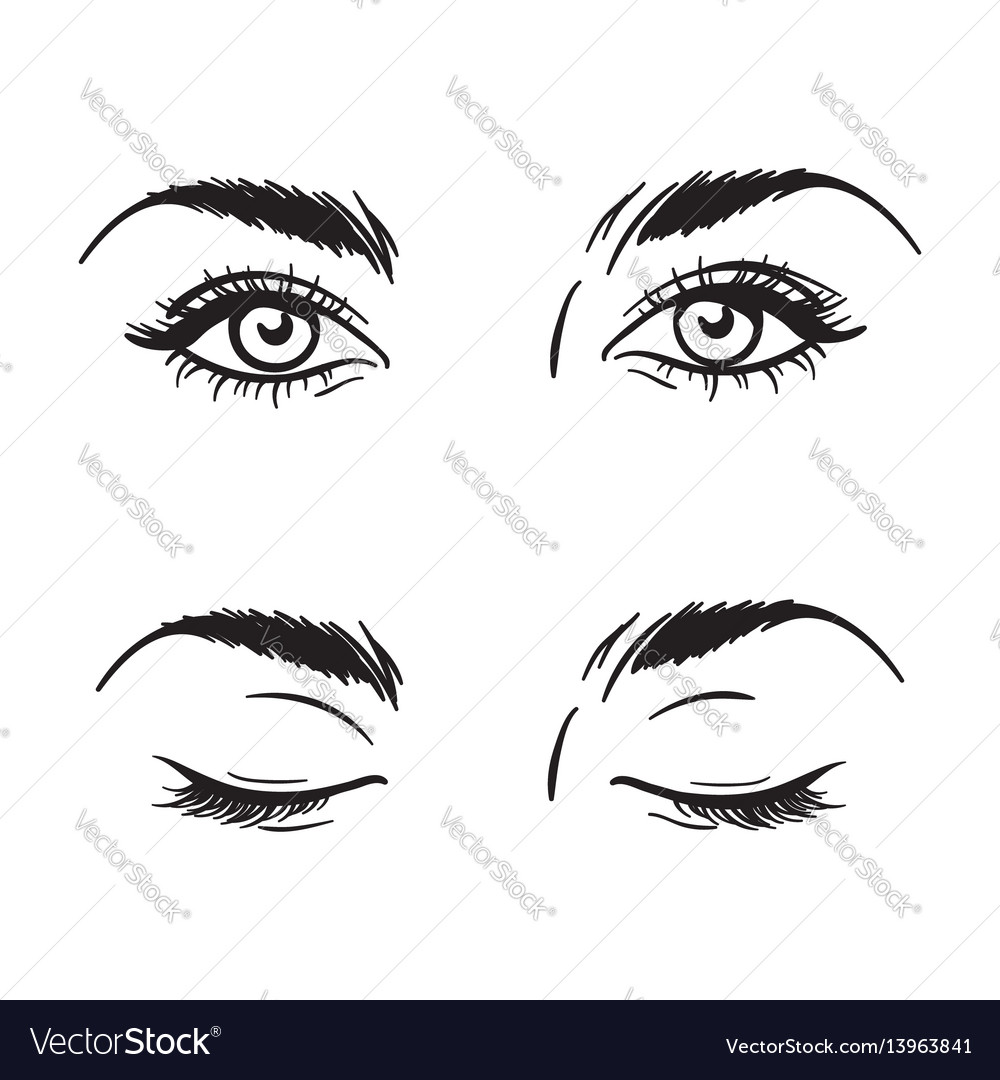 Beautiful female eyes set - open and closed
